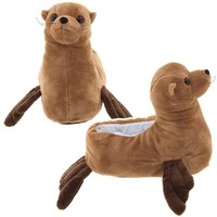 Wishpets Brown Sea Lion Animal Slippers