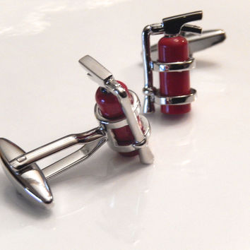 Fire Extinguisher Cufflinks, Fire Cufflinks, Wedding Cuff Links, Father's Day Cuff Links, Graduation Gift