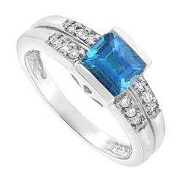 Blue Topaz and Diamond Ring : 14K White Gold - 1.50 CT TGW