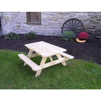 "A & L Furniture Co. Pressure Treated Pine 22"" Wide Kids Table - Specify for FREE 2"" Umbrella Hole  - Ships FREE in 5-7 Business days"