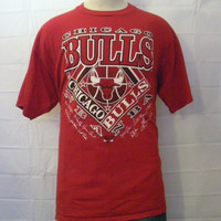 Vintage Awesome 80s 90s CHICAGO BULLS JORDAN Graphic Basketball Soft Large Cotton T-Shirt