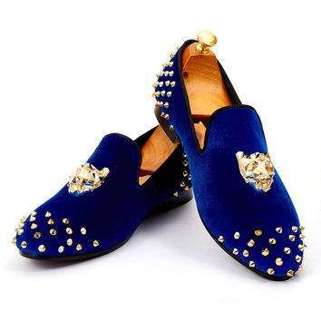 Harpelunde Mens Wedding Shoes Spikes Blue Velvet Loafers