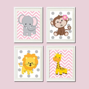 JUNGLE Nursery Wall Art ELEPHANT Monkey Giraffe Lion Set of 4 Prints Zoo SAFARI Animals Baby Girl Decor Wall Art Jungle Decor Bedding Pic