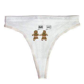 funny gingerbread conversation christmas womens thong underwear