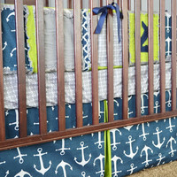 Nautical Baby Crib Bedding for Baby Boy in Lime Green, Navy Blue, Grey | A Vision to Remember All Things Handmade Blog: Nautical Baby Crib Bedding for Baby Boy in Lime Green, Navy Blue, Grey