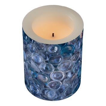 Watery Blue and Clear Reflective Glass Marbles Flameless Candle