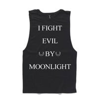XL I fight evil by moonlight - muscle tee - Wilde At Heart