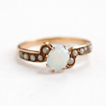 Antique 10k Rose Gold Opal & Seed Pearl Ring- Vintage Size 7.5 Late 1800s Victorian Era Fiery Gemstone Fine Jewelry