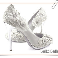 Ivory Vintage Flower Lace Applique Satin Bridal Wedding Pumps Shoes Bride