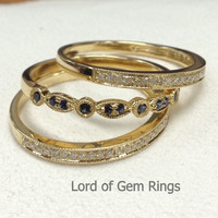 Pave Sapphires/Diamond  Wedding Ring Sets Half Eternity Anniversary Band 14K Yellow gold Art Deco