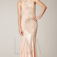 Open Back Sequin Embellished Gown by Mignon
