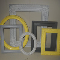 Reserved Listing For Betsey----Set of 6 Upcycled Open Picture Frames/Gray,Yellow and White/No Glass
