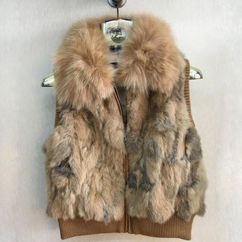 Woman Fashion Real Rabbit Fur Vest With Fox Fur Collar Fur Gilet High Quality Genunie Fur Waistcoat B747-021