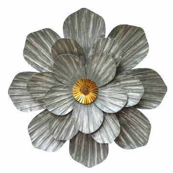 Galvanized Flower Wall Decor-Stratton Home Decor