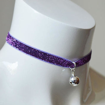 Kitten play day choker - velvet glitter ribbon - with bell charm - kittenplay ddlg cute necklace for everyday wearing - nekollars