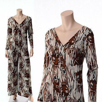 Vintage Graphic Tiger Print Jumpsuit 60s 70s 1960s 1970s Mod Palazzo Boho Hippie Disco Bell Bottom Novelty Lounger / Small / Medium
