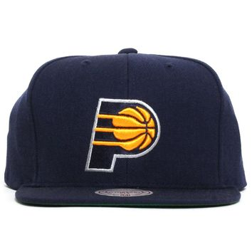 Indiana Pacers Wool Solid Snapback Hat Navy