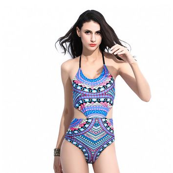 Tribal Print Halter Neck One Piece Swimsuit