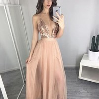 Sexy V-Neck Sequin Top Prom Dresses, Nude Tulle Prom Dresses, New Arrival Prom Dresses, Popular Prom Dresses, Cheap Prom Dresses, 2017 Prom Dresses