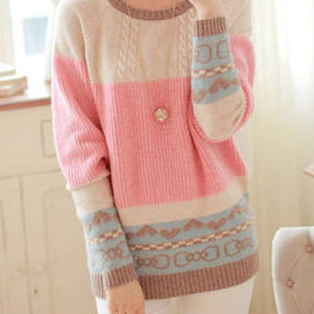 Multicolor Long Sleeve Bowknot and Heart Pattern Sweater