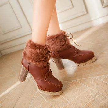 Faux Fur Lace Up Round Toe High Chunky Heels Short Boots