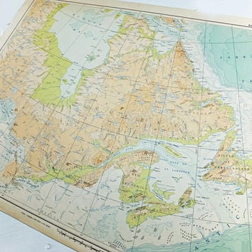 East Canada Map, Large 1957 Map of Canada, old map, Bathy-Orographic map, Canadian map, Atlas of Canada