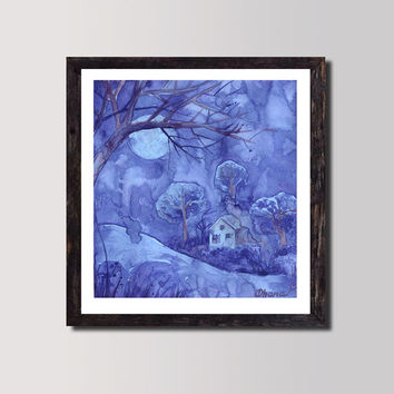 Blue painting / Lilac Winter night  Landscape / Watercolor Original art / Purple Blue  Moon Trees Fine Art Gorgeous Home decor