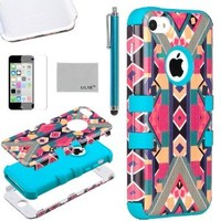 Pandamimi ULAK(TM) 3in1 Hybrid High Impact Soft TPU and Hard PC Case Cover for Apple iPhone 5C with Screen Protector and Stylus (B / O / L / D/Blue)