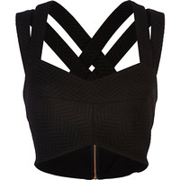 River Island Womens Black textured strappy bralet