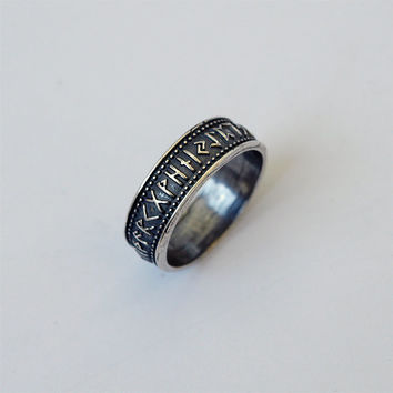 Elder futhark runes ring Metal Silver plated Brass Casting Ring Size 11,5