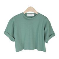 Roll-Up Color Crop Top