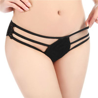 Bamboo Fiber Sexy Panties Three Ribbon Lace Cover Hips Women Lingerie G-string