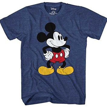 Mickey Mouse Tones Graphic Tee Classic Vintage Disneyland World Mens Adult T-shirt Apparel (Navy Heather, Large)