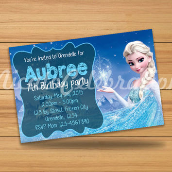Elsa Frozen Chalk Design Invitation - Digital File