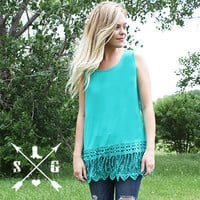 Lyla's Turquoise Lace Tank Top
