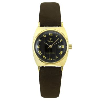 Zodiac 14k Yellow Gold Watch with Tiger Eye Dial
