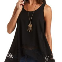 Crochet Trim Trapeze Tunic Top by Charlotte Russe