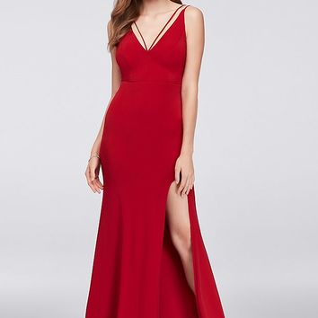Double Strap Plunging Neckline Jersey Sheath Gown | David's Bridal