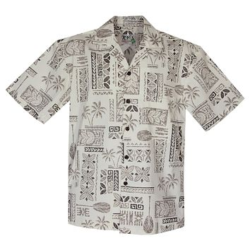Hieroglyphics White Cotton Vintage Hawaiian Shirt