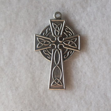 Celtic Cross Silver Oxidized Metal Antique Finish Necklace Rosary Parts Pendant Charm Medal Crucifix Italy