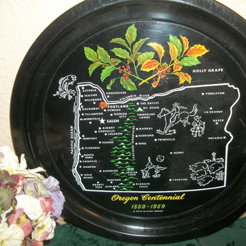Vintage Serving Tray Black Metal Oregon Centennial Historic Souvenir 1959 State Map Holly Grape Round Platter Entertaining Beverage Serving