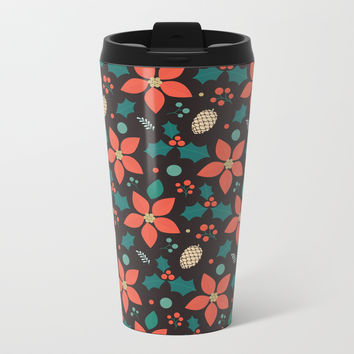 Deck the Halls (Black Background) Metal Travel Mug by lalainelim