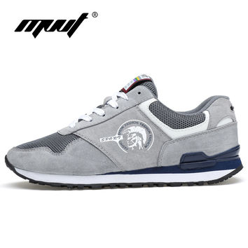 Breathable Mesh & Genuine Leather Running Shoes For Men Sneakers Men Outdoor Sport Shoes Walking Shoes Supper Star