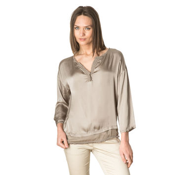 Brown V Neck Silk Blouse