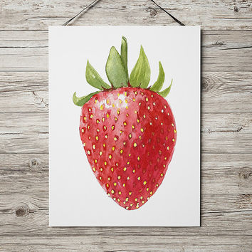 Strawberry decor Kitchen print Fruit poster Food print ACW447