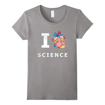 I Love Science Real Anatomical Heart T shirt Emoji Nerd Tee