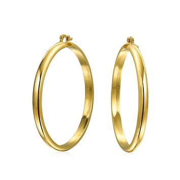 Round Half Tube Large Hoop Earrings Shiny 18K Gold Plated Brass 2 Dia