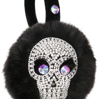 SKULL EARMUFFS,scream queens,ear muffs,embellished earmuffs,faux fur earmuffs,halloween accessories,day of the dead,winter accessories