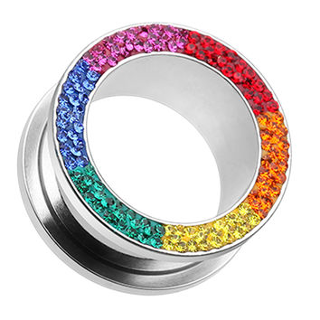 Sparkling Rainbow Multi Glass-Gem Screw-Fit Ear Gauge Tunnel Plug