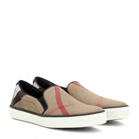 Gauden check leather-trimmed slip-on sneakers